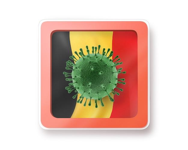 Warnschild mit molekül coronavirus auf der belgischen flagge auf einem weißen, kopienraum. schnelle verbreitung von coronavirus, covid 19 in der welt. 3d-illustration