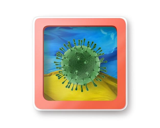 Warnschild mit molekül coronavirus auf der ukrainischen flagge, kopierraum. schnelle verbreitung von coronavirus, covid 19 in der welt. 3d-illustration