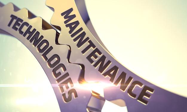 Wartungstechnologien zum mechanismus von goldenen metallzahnrädern mit glow-effekt. wartungstechnologieson golden cogwheels. wartungstechnologien golden gears. 3d-rendering.