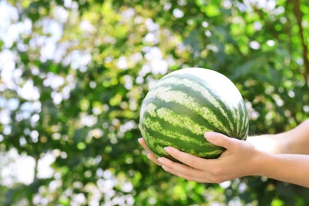 Waschen der wassermelone im freien