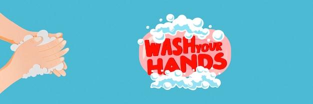 Waschen sie ihre hände nachricht aus papier