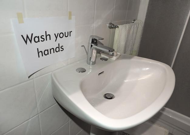 Waschen sie ihre hände zeichen