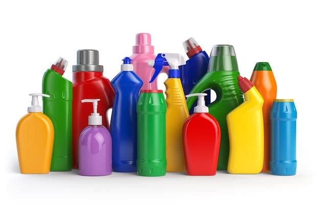 Waschmittelflaschen reinigungsmittel isoliert auf weißem hintergrund