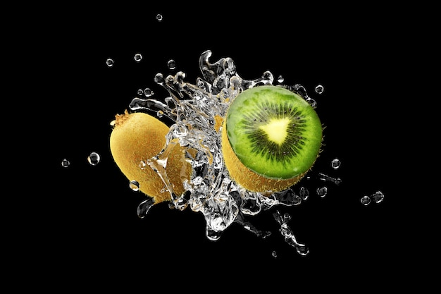 Wasser mit kiwi auf schwarzem hintergrund 3d render