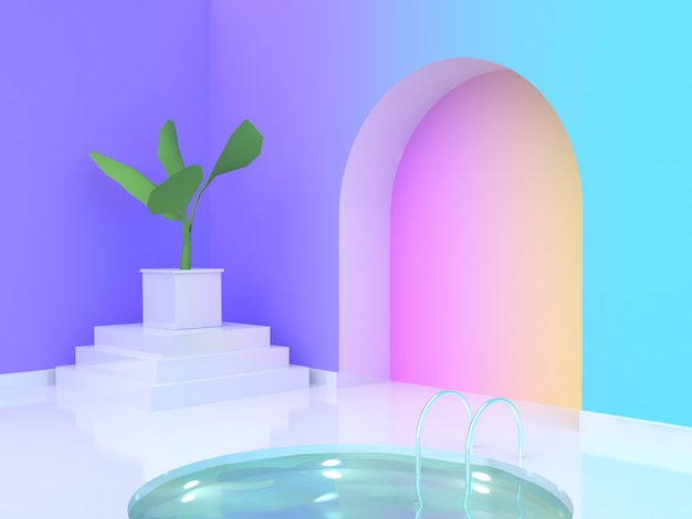 Wasser pool violetpurple blau gelb rosa farbverlauf wallroom 3d-rendering Premium Fotos