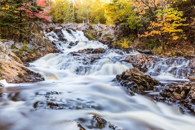 Wasserfall auf einem nebenfluss durch das holz in kanada, lange belichtung