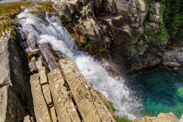 Wasserfall auf stufen oder terrassen in grüner landschaft zwischen bäumen und bergen in ordesa. soaso steht auf.