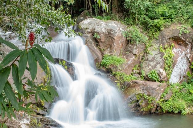 Wasserfall, der von den bergen am wasserfall phu soi dao in loei fließt.