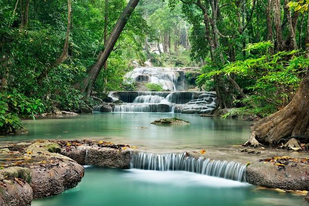Wasserfall im tiefen wald auf berg