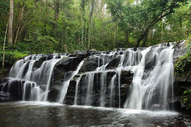 Wasserfall mitten in einem großen wald