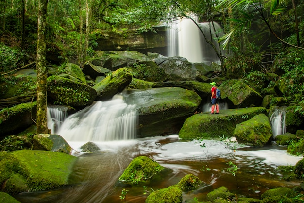 Wasserfall-thailand-landschaftsschöner regenwald an nationalpark phu kradueng