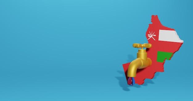 Wasserkrise und trockenzeit im oman für infografiken und social media-inhalte in 3d-rendering