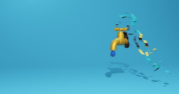 Wasserkrise und trockenzeit in bahama für infografiken und social media-inhalte in 3d-rendering