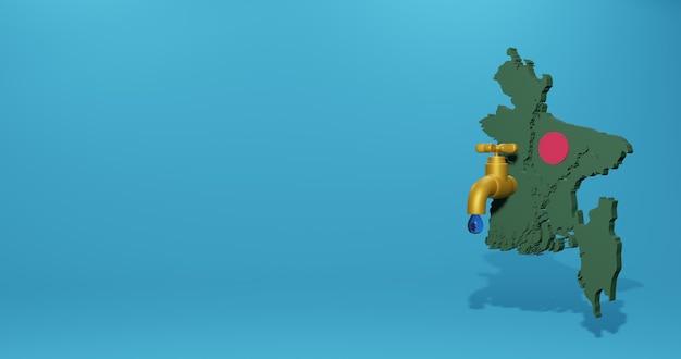 Wasserkrise und trockenzeit in bangladesch für infografiken und social media-inhalte in 3d-rendering