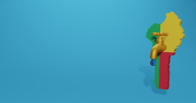Wasserkrise und trockenzeit in benin für infografiken und social media-inhalte in 3d-rendering