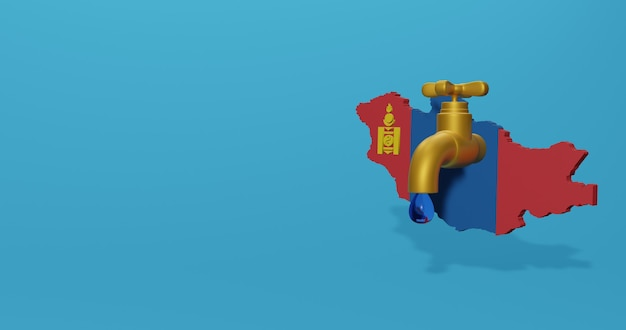 Wasserkrise und trockenzeit in der mongolei für infografiken und social media-inhalte in 3d-rendering