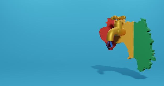 Wasserkrise und trockenzeit in guinea für infografiken und social media-inhalte in 3d-rendering