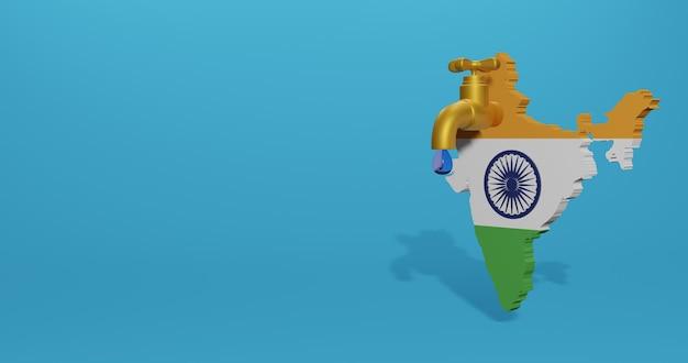 Wasserkrise und trockenzeit in indien für infografiken und social media-inhalte in 3d-rendering