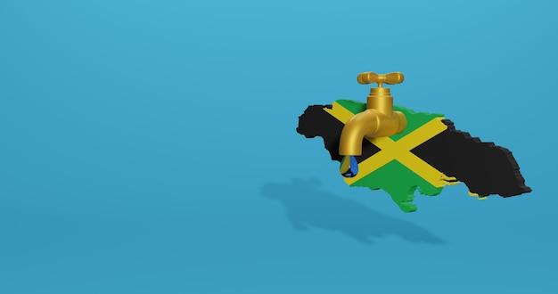 Wasserkrise und trockenzeit in jamaika für infografiken und social media-inhalte in 3d-rendering