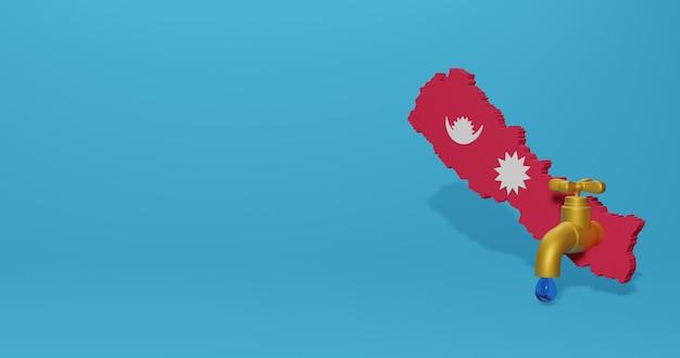 Wasserkrise und trockenzeit in nepal für infografiken und social media-inhalte in 3d-rendering
