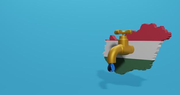 Wasserkrise und trockenzeit in ungarn für infografiken und social media-inhalte in 3d-rendering