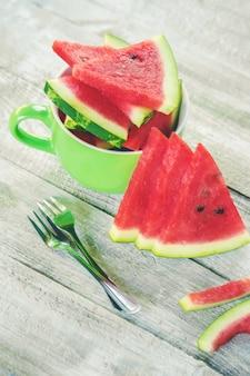 Wassermelone. essen und trinken. selektiver fokus natur.