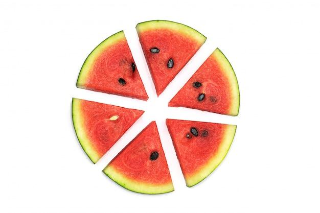 Wassermelone reif und lecker, isoliert auf weiss