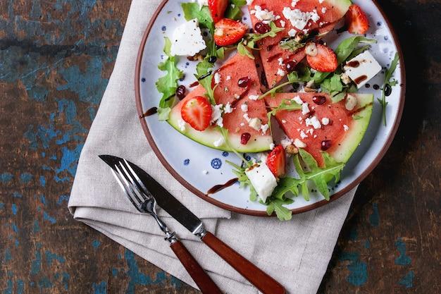 Wassermelonen- und erdbeersalat