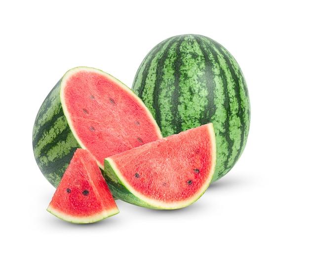 Wassermelonenfrucht auf weißem hintergrund