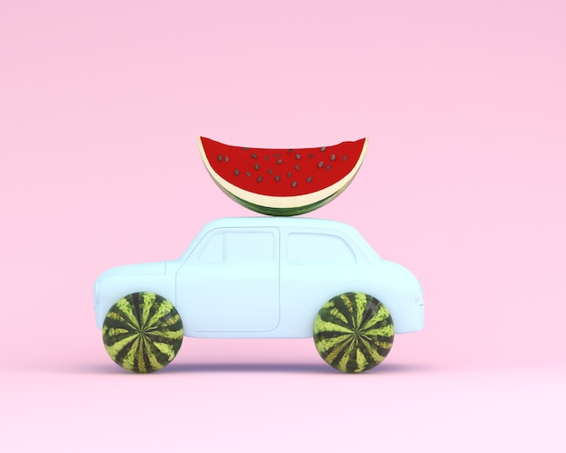 Wassermelonenrad und auto blau auf pastellrosa hintergrund. minimales nahrungsmittel- und fruchtkonzept.