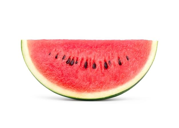Wassermelonenscheibe isoliert auf weißer oberfläche