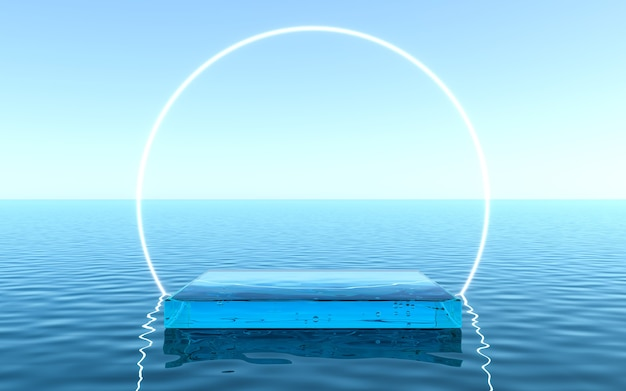 Wasserpodest für produktpräsentation, flüssiger boden mit neonrahmenhintergrund. 3d-rendering