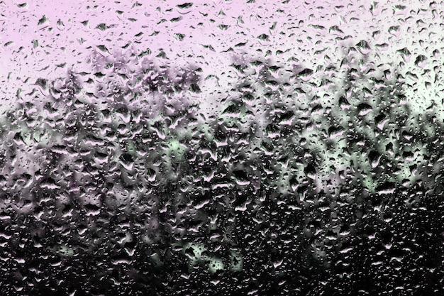 Wassertropfen auf glas gegen den himmel und die bäume.