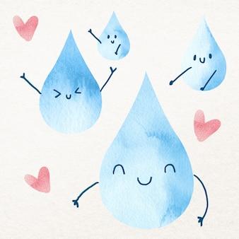 Wassertropfen mit glücklichen gesichtern gestaltungselement