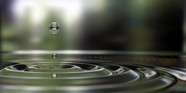 Wassertropfen spritzen nahaufnahme auf der wasseroberfläche 3d-darstellung