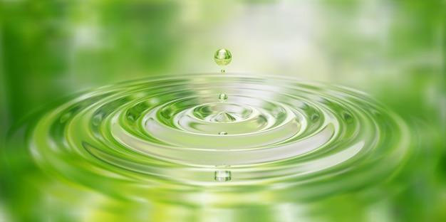 Wassertropfen spritzen nahaufnahme auf wasseroberfläche 3d illustration