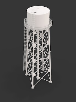 Wasserturm. 3d-darstellung. isoliert auf weißem hintergrund. wasserreservoir und industrieller container-wasserturm mit hoher metallstruktur.