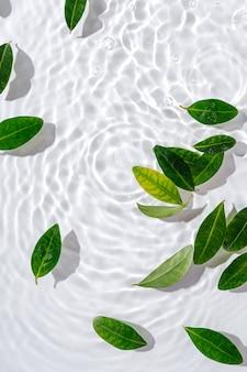 Wasserwelligkeit mit grünen blättern. trendiger weißer hintergrund für die präsentation von kosmetischen produkten. künstlerisches konzept. platz kopieren