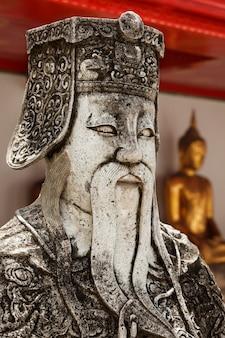 Wat pho stein wächter gesicht nah, thailand