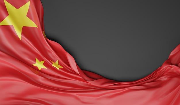 Waving flag von china. 3d-rendering