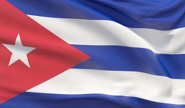 Waving nationalflagge von kuba. winkte hochdetaillierte nahaufnahmen 3d-rendering.