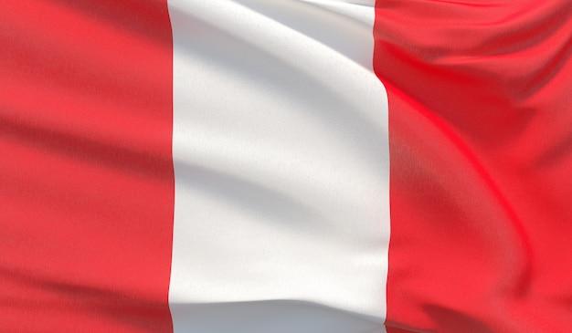 Waving nationalflagge von peru. winkte hochdetaillierte nahaufnahmen 3d-rendering.