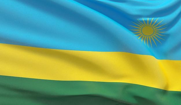Waving nationalflagge von ruanda. winkte hochdetaillierte nahaufnahmen 3d-rendering.