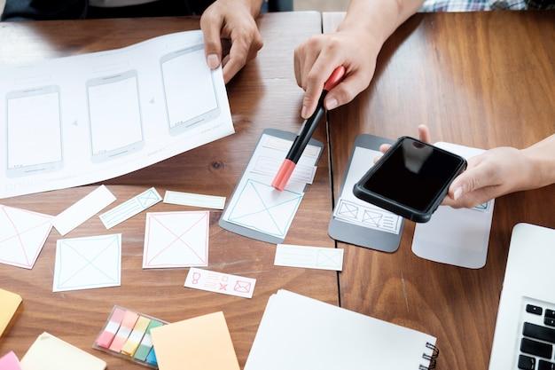 Web-designer-planung für handy
