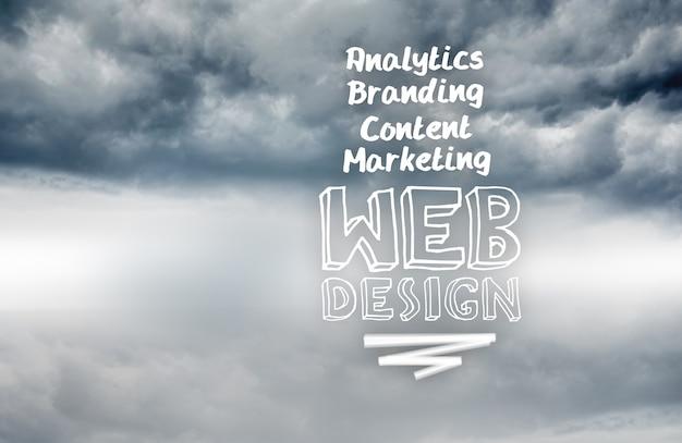 Webdesignbegriffe geschrieben auf himmelhintergrund