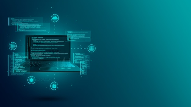 Webentwicklung, codierung und programmierung einer site oder anwendung auf einem laptop