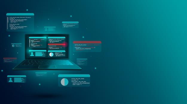 Webentwicklung und einrichten eines benutzerprofils auf einem laptop
