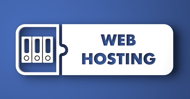 Webhosting-konzept. weißer knopf auf blauem hintergrund im flachen entwurfsstil.
