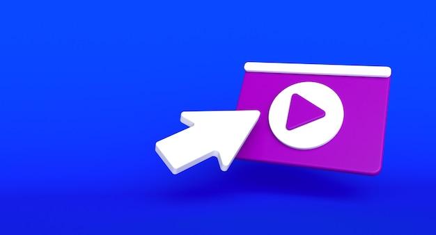 Webseiten-social-media-konzept. abbildung des videospielsymbols. 3d-rendering