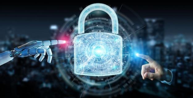 Websicherheitsschutzschnittstelle, die von der wiedergabe des roboters 3d verwendet wird Premium Fotos